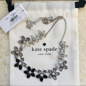 Kate Spade Black Floral Statement Necklace, NWT